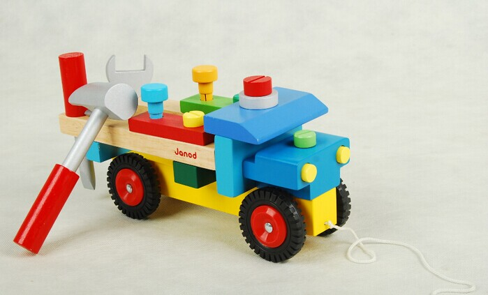 Wooden toy Nut assembly vehicle